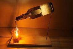 Lampada da tavolo in legno e vetro riciclato Mod. Drink - Opera d'arte di Ideesign