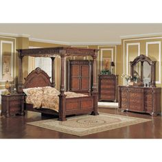 Clearance Grand Estates Cinnamon Queen Canopy Bed | Bed Sets ...