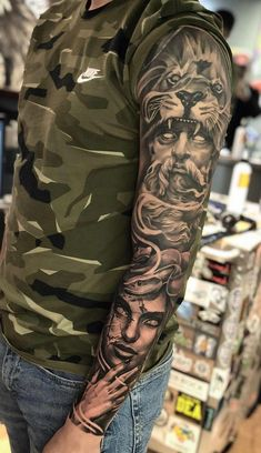 I incredibly am into the pigments, outlines, and linework. This is an amazing ta. - I incredibly am into the pigments, outlines, and linework. This is an amazing tattoo design if you - Dope Tattoos, Forarm Tattoos, Leg Tattoos, Body Art Tattoos, Tattoos For Guys, Tattoo Forearm, Zeus Tattoo, Hercules Tattoo, Poseidon Tattoo