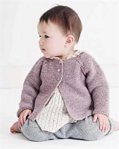 A garter stitch cardigan with sweet lace cables along the raglan lines. The cardigan can also be wo Knitting For Kids, Baby Knitting Patterns, Knitting Yarn, V Stitch, Chain Stitch, Baby Barn, Knit Cardigan Pattern, Knit Baby Sweaters, Baby Kind