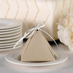 Favor Boxes / Pyramid Favor Box Gold Shimmer with Ribbon /