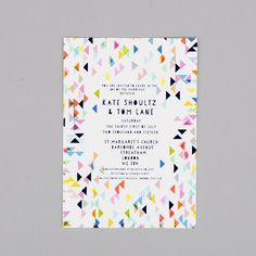 This Geometric wedding invitation set, by Kitty McCall with its bold and bright colours and abstract design is perfect for that modern statement wedding day. Th