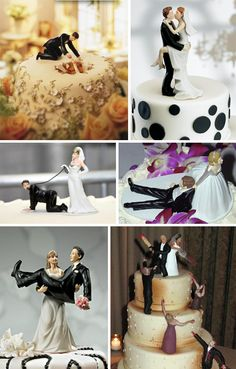 Look at these fun wedding cake toppers. Love the first one when bride falls in cake lol Funny Wedding Cake Toppers, Wedding Topper, Perfect Wedding, Our Wedding, Dream Wedding, Crazy Wedding, Zombie Wedding Cakes, Wedding Fotos, Boho Vintage