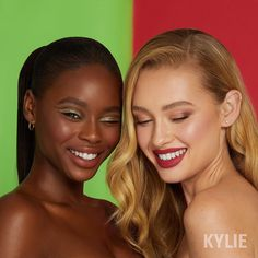 Kylie X Grinch glam 😍💚 Look at that gorgeous flush and glow from Max The Reindeer blush and Littlest of Whos highlighter ✨ Kiara (left) is wearing Who Needs Presents lipstick and Cari (right) is wearing How The Grinch Stole Christmas! lip kit 🎄 Our Holiday Collection launches 11.19!