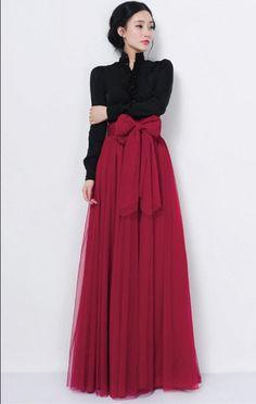 Popgrace Damen Elastische Taille Mesh Tüll Rock Prinzessin Fee Volle Kleid FreeSize Rot: Amazon.de: Bekleidung