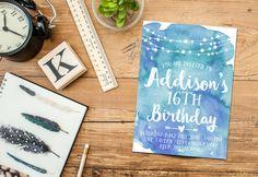 16th Birthday Party Invitation Printable, Watercolor Invite, Boho Teen Bday Invite, 13th Invitations, Bohemian, 14th, 15th, 17th, 18th, 21st