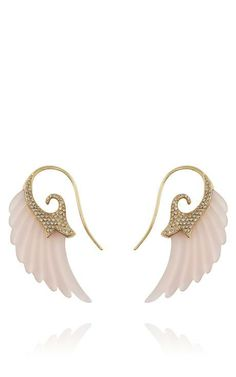 Exclusive Wing Earrings With 18K Gold And Rose Agate by Noor Fares for Preorder on Moda Operandi