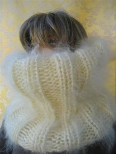 Thick Mohair sweater Cowl-Neck T-neck  Warmer SCARF TUBE Cream #Handmade #Scarf
