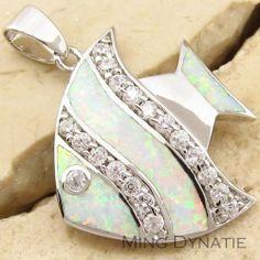 White Fire Opal, White Topaz & Silver Fish Pendant... :)