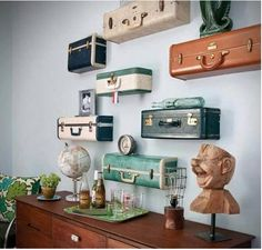 Love this decor idea to reuse old briefcases! Really shows personality.