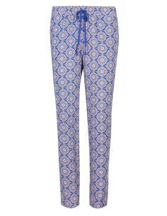 Tile Print Tapered Leg Trousers   M&S