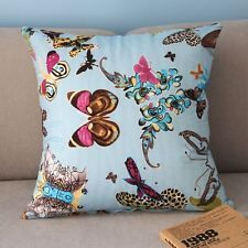 Colorful Beautiful Butterflies Throw Pillow Case Light Blue Cushion Cover PJ302