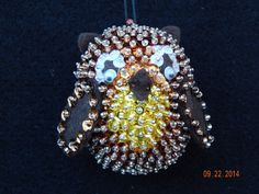Halloween Owl sequined and beaded Ornament by NanaJansXmasCrafts