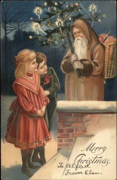 Christmas Ethereal Santa Claus Brown Suit Watched by Children c1910 Postcard