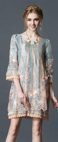 Light Blue Embroidered Lace Trim Dress