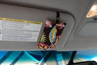 Tissue holder: Add elastic for attaching to sun visor.  Great idea!