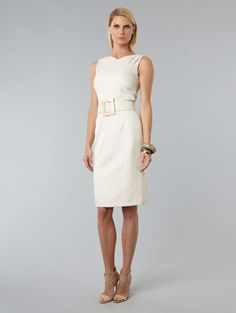 LOVE this ivory David Meister!  Belted Shift Dress $360