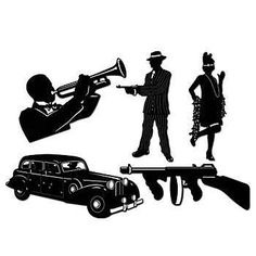 These Gangster Silhouettes include a trumpet player, a woman and man, a gun and a car. Each set of five Gangster Silhouettes are made of heavy paper.