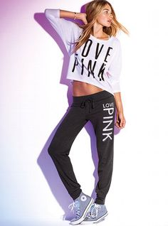 Victoria's Secret PINK Lightweight Banded-bottom Pant #VictoriasSecret <3 this whole outfit!
