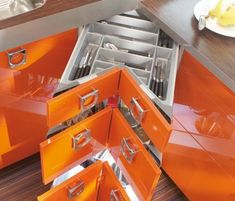 Independent, family run kitchen company. Afforadable, quality kitchens, designed to your budget. From German manufactured to bespoke kitchen, we have something for everyone. Orange Kitchen, Kitchen Colors, Kitchen Ideas, Kitchen Drawers, Kitchen Storage, Loft Design, House Design, Kitchen Showroom, Galley Kitchens