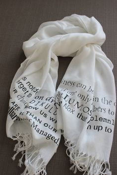 Harry Potter Script Scarf by TheColorlessCottage on Etsy, $25.00