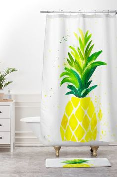Pineapple Stripes Shower Curtain By Fancy As Hell