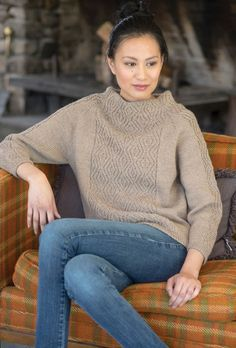 Isthmus Pullover in Berroco Ultra Wool, a beige cozy jumper pattern. Download this FREE pattern and find more knitting inspiration at LoveKnitting.Com.