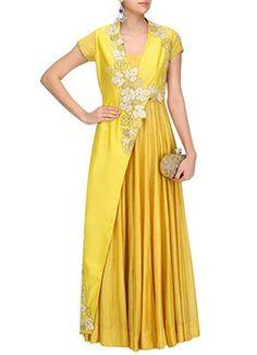 Yellow Ark Silk Layered Anarkali Gown