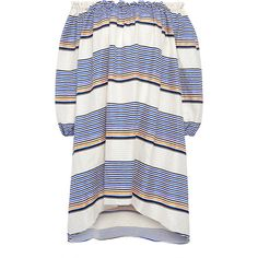 Tanya Taylor - Sunset Stripe Off the Shoulder  Dress (775 BAM) ❤ liked on Polyvore featuring dresses, sukienki, bohemian dresses, bohemian off the shoulder dress, bohemian style dresses, white boho dress and lace up dress