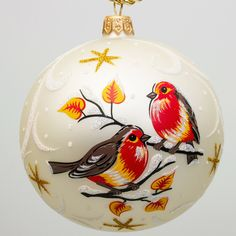 Bullfinches Ball Christmas Ornament - ll that one needs to be happy are bright, positive emotions. Decorating your Christmas Tree with this hand-made glass ball ornament is sure to lift your mood and give you streams of positive energy!
