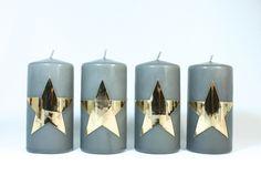 4 Kerzen goldener Stern für den Adventskranz von Bastelsepp - Kerzen für jeden Anlass fertig kaufen oder mit unseren Bastelsets selber machen auf DaWanda.com