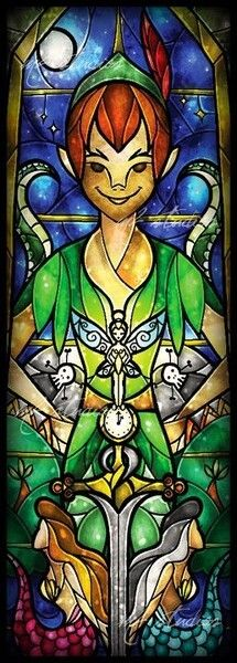 Peter Pan [feat. the mermaids of the lagoon (x2)] (Stained Glass by MandieManzano @deviantART) #PeterPan