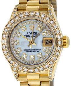 967b63af1ce Rolex Datejust President 18K Yellow Gold Mother Of Pearl Diamond 26mm  Womens Watch. JoiasRelógios De ...