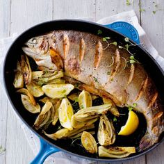 Lemon and Fennel Salmon Trout - Le Creuset Recipes Le Creuset, Food Dishes, Main Dishes, Kitchen Essentials, Pinterest Recipes, Fish And Seafood, Fennel, Easy Cooking, Trout