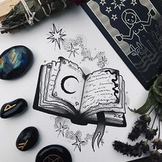Had a little time to paint this spell book yesterday and it was so much fun ✨ I'd love to tattoo it too, send me a message if you'd like to claim it 🖤🥀 Future Tattoos, Love Tattoos, Beautiful Tattoos, New Tattoos, Freundin Tattoos, Magic Tattoo, Theme Tattoo, Witch Tattoo, Book Drawing