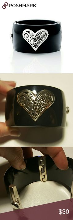 "NWT Brighton ""Love Affair"" Cuff Hinged resin cuff adorned with a silver plated heart Brighton Jewelry Bracelets"