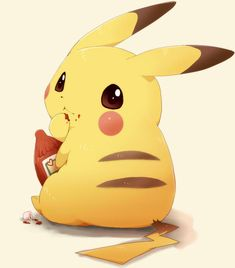 alternative-pokemon-art: Artist Pikachu with ketchup by request. Pichu Pikachu Raichu, Pikachu Art, Cute Pikachu, My Pokemon, Pikachu Drawing, Cute Pokemon Pictures, Pokemon Photo, Estilo Anime, Pikachu Kawai