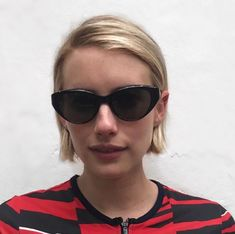"""In a new images posted by hairstylist Chris McMillan, Emma Roberts' hair is shorter than ever in a haircut called the """"hairline bob. Modern Bob Hairstyles, Stacked Bob Hairstyles, Gorgeous Hairstyles, Bob Haircuts, Celebrity Bobs, Celebrity Short Hair, Emma Roberts Hair, Short Hair Cuts, Short Hair Styles"""