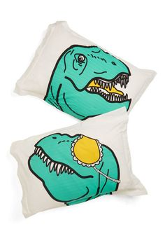 Dino What You Did Last Slumber Pillow Sham Set. Rex easy in the comforting presence of this delightful pillow sham set - available exclusively at ModCloth! #multiNaN