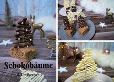 Köstlicher Zimtkuchen und dekorative Schokoladenbäume - Pretty You Gingerbread Cookies, Food Art, Bakery, Deserts, Place Card Holders, Sweet, Christmas, Muffins, Christmas Decor