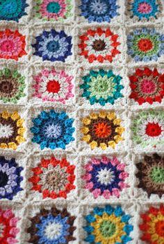 <3 granny squares- white edges are cute