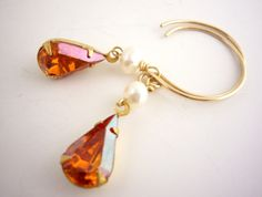 Items similar to Cognac Swarovski Pear Earrings Ivory Freshwater Pearl Gold Filled Red Orange Short Drop Dangle Earrings Fall Bridal Bridesmaid Jewelry. on Etsy Wedding Jewelry For Bride, Bridesmaid Jewelry, Orange Earrings, Drop Earrings, Crystal Jewelry, Dangles, Swarovski, Jewelry Making, Ivory