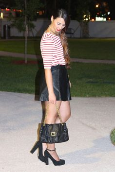 Stripe & Leather~ http://www.bisousbrittany.com/leather-stripes/ #stripes #leather #fashionblogger #miami