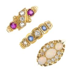 Victorian era gold and gemstone rings
