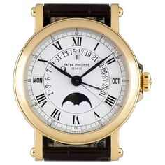Patek Philippe yellow gold Perpetual Calendar Retrograde automatic wristwatch  | From a unique collection of vintage wrist watches at https://www.1stdibs.com/jewelry/watches/wrist-watches/