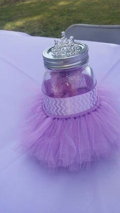 Purple tutu baby shower centerpiece