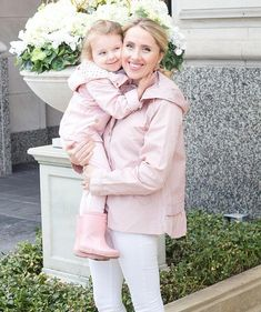 Mama and Me Rain Coat // Pink Coat // Mommy and Me // Stylish Mom// Toddler Style // Pink Travel Raincoat, Pink Raincoat, Hooded Raincoat, Raincoats For Women, Mommy And Me, Toddler Fashion, Rain Jacket, Dress Up, Ruffle Blouse