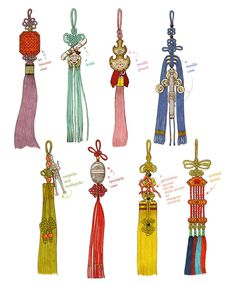 Norigae is the most famous accessory of Hanbok, which hung from the ribbon of Jeogori (Goreum). It is basically comprised of a string + decorative knots + jewelry + a tasse. Korean Hanbok, Korean Dress, Korean Outfits, Korean Traditional Dress, Traditional Fashion, Traditional Dresses, Korean Accessories, Decorative Knots, Korean Art