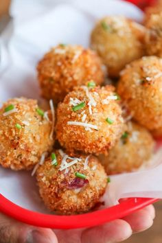 Loaded Mashed Potato Balls - What do you do with leftover mashed potatoes? You make melt-in-your-mouth, crisp yet creamy mashed potato balls of course!