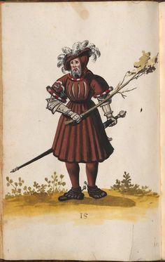 Short sleeved waffenrock, with slashed chest, and decorative embroidery on one sleeve. pg 64    Hofkleiderbuch (Abbildung und Beschreibung der Hof-Livreen) des Herzogs Wilhelm IV. und Albrecht V. 1508-1551 - BSB Cgm 1951, München, 16. Jh. [BSB-Hss Cgm 1951]